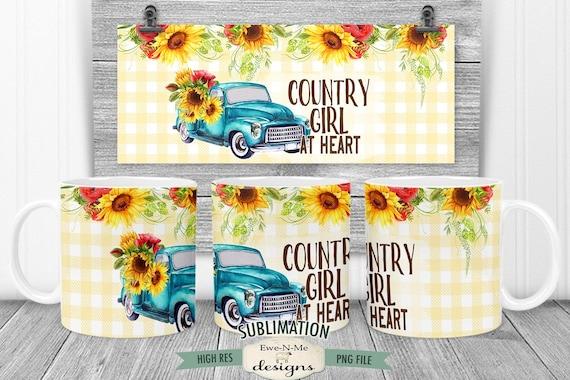 Blue Truck Sunflowers Sublimation Mug Design - Country Girl at Heart - Printable 11 oz. and 15 oz. Mug Sublimation Wrap PNG