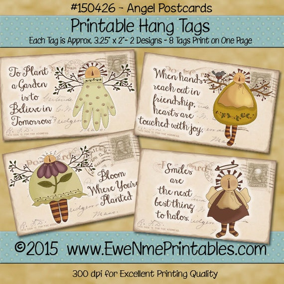 Printable Angel Tags with Vintage Postcard Background - Primitive Style - hang tag or gift tag - Digital Print PDF and/or JPG File