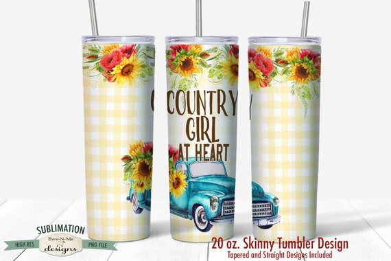 Blue Truck Sunflower Sublimation Design - Country Girl at Heart  - Sublimation 20 oz. Tumbler Straight Tapered