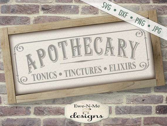 Apothecary svg - tonic tincture elixir SVG - Pharmacy svg - Apothecary Sign svg