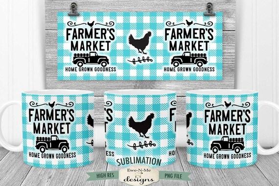 Farmers Market Sublimation Mug Design - Old Truck Chicken Buffalo Plaid - Printable 11 oz. and 15 oz. Mug Sublimation Wrap PNG