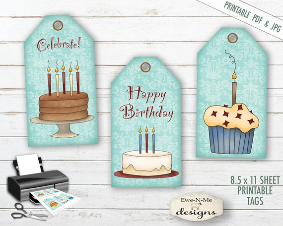 Printable Hang Tags - Happy Birthday - Sheet Tags - Printable Tags -  Printable PDF and/or JPG File