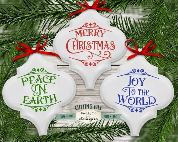 Tile Ornament SVG Files - Peace on Earth, Merry Christmas, Joy To The World
