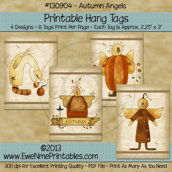 Autumn Harvest Angels Printable Hang Tags - Folk Rustic Farmhouse Style in Fall Colors  - Digital Print PDF and/or JPG File