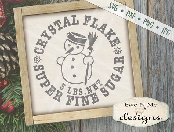 Snowman SVG Cut File - Winter Cut File - Crystal Flake Sugar Label - Christmas Winter Snowman SVG - Digital svg, dxf, png and jpg files