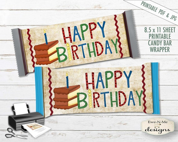Printable Hershey Wrapper - Happy Birthday - Birthday Cake Printable -  Printable PDF and/or JPG File