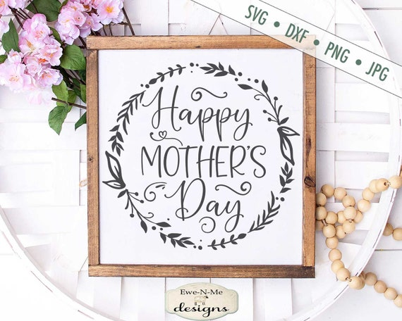 Happy Mother's Day - Wreath SVG