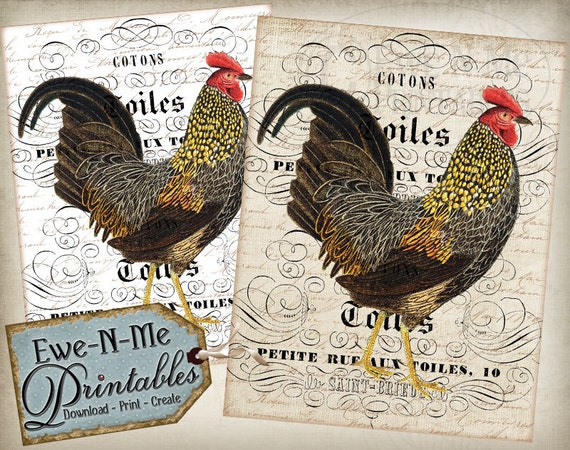 Printable French Country Wall Decor Vintage Rooster - Printable Images for Fabric or Paper  - JPG File - Commercial Use - Printable Wall Art