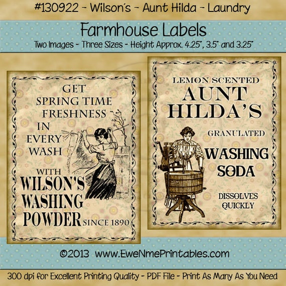 Vintage Look Laundry Farmhouse Label Printables - Aunt Hildas Washing Soda, Wilson Washing Powder - Antique look Labels - PDF or File