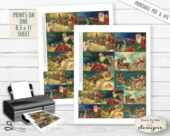Santas Sleigh Collage Sheet - Victorian Santa - Christmas Printable Sheet Tags -  PDF, JPG