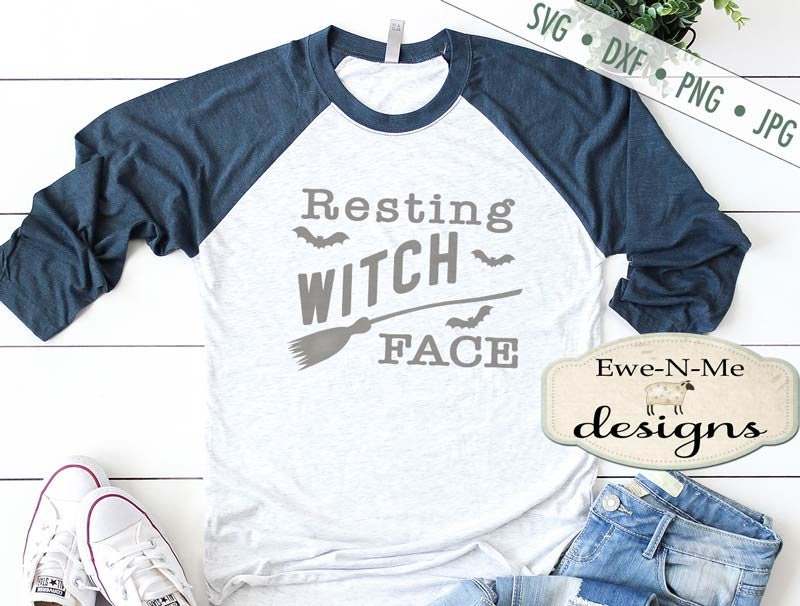 Resting Witch Face Svg Halloween Svg Witch Svg Witch Broom Svg