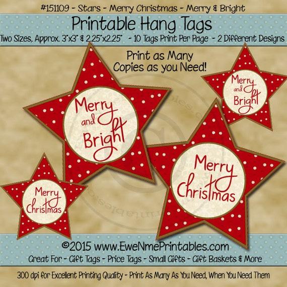 Star Shaped Printable Christmas Hang Tags - Star - Merry Christmas Merry & Bright - Vintage Look Red Tag - Digital Print PDF and/or JPG File