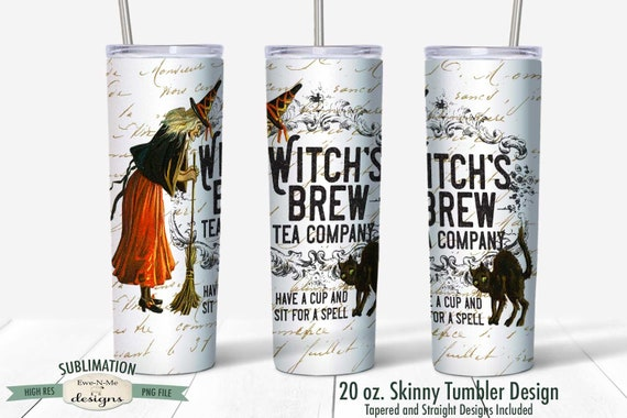 Witch Brew Tea Company Sublimation Design - Vintage Halloween Witch - Sublimation for  20 oz. Tumbler Straight and Tapered