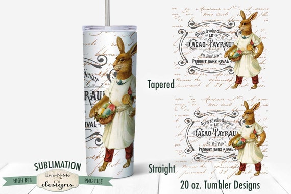 Vintage Easter Sublimation Design - Standing Easter Rabbit with Eggs Tumbler Sublimation  - Sublimation 20 oz. Tumbler Straight Tapered