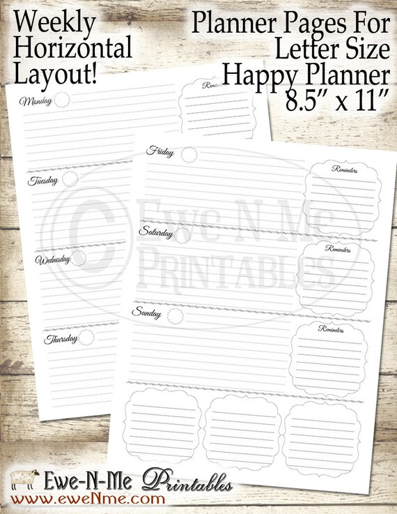 Letter Size Planner Pages - Printable Planner Pages - Happy Planner Inserts - Weekly Planner Printable - Undated Weekly Planner - Horizontal