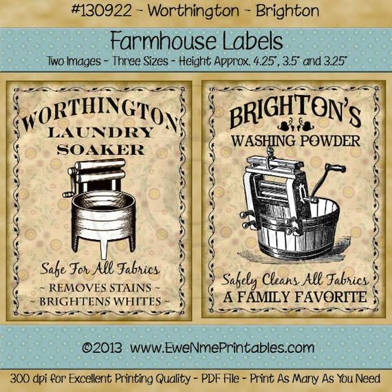 Primitive Laundry Farmhouse label Printables - Old Washing Machine, Wringer Washer, Crank Washer - Digital PDF or JPG File