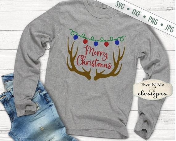 Antlers SVG - Merry Christmas svg - reindeer antlers svg - christmas lights svg - deer svg - Commercial Use svg, dxf, png, jpg