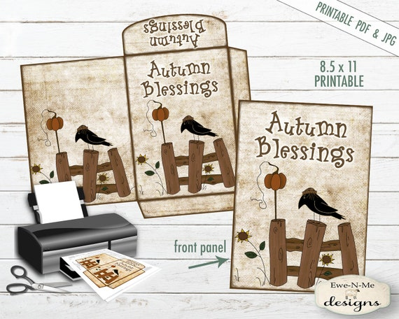 Autumn Blessings - Printable Envelope - Cocoa Envelope - Seed Packet Printable