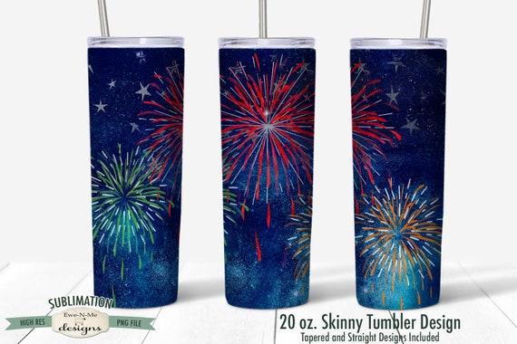 Fireworks Night Sky Tumbler  Sublimation Design - July 4th Tumbler Design  - Sublimation 20 oz. Tumbler Straight Tapered