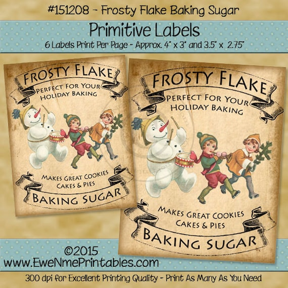 Primitive Christmas Label Printable - Victorian Snowman Primitive Tags - Frosty Flake Baking Sugar - Printable PDF or JPG File