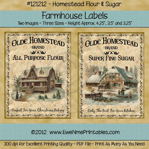 Primitive Winter Christmas Label - Crate Label - Old Homestead Flour - Olde Homestead Sugar - PDF or JPG File