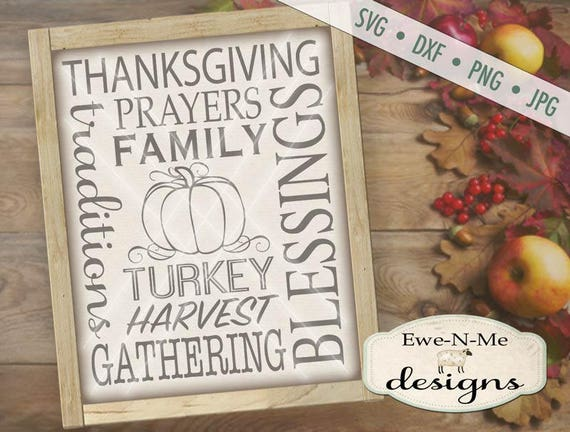 Thanksgiving SVG Subway Art Cutting File - Pumpkin Harvest - Digital svg, dxf, png and jpg files available for instant download