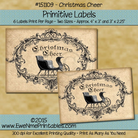Primitive Christmas Sleigh Printable Labels - Victorian Sleigh Labels - Christmas Cheer - Grungy Look Printable PDF or JPG File