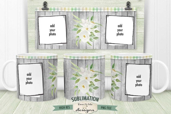 Barn Wood White Flowers Sublimation Mug Design - Photo Frame - Printable 11 oz. and 15 oz. Mug Sublimation Wrap PNG