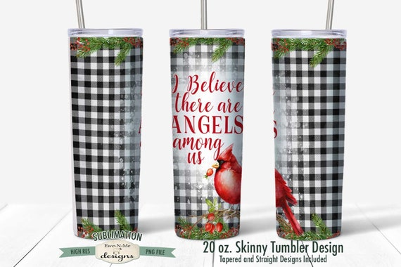 Angels Among Us Sublimation Design - Cardinal Christmas Design - Sublimation for  20 oz. Tumbler Straight and Tapered
