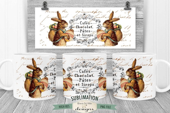 Vintage Easter Sublimation Mug Design - Vintage Easter Bunny - Printable 11 oz. and 15 oz. Mug Sublimation Wrap PNG