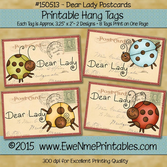 Printable Ladybug Tags with Vintage Postcard Background - Primitive Style - colorful ladybugs - Digital Print PDF and/or JPG File
