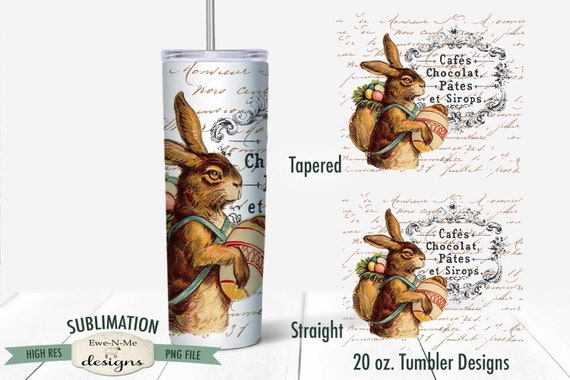 Vintage Easter Sublimation Design - Easter Rabbit Tumbler Sublimation  - Sublimation 20 oz. Tumbler Straight Tapered