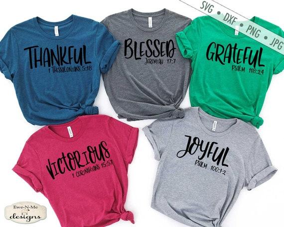 Grateful - Thankful - Blessed - Victorious - Joyful - Christian SVG Bundle