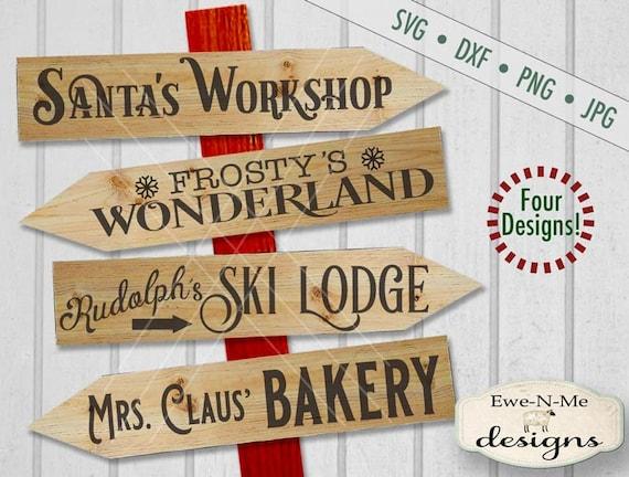 Christmas svg bundle - christmas svg - directional svg - santas workshop - frostys wonderland - mrs claus bakery  - Commercial use svg
