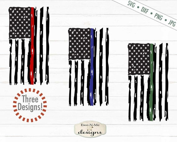 Distressed Vertical American Flag - Red Line Flag, Blue Line Flag,  Green Line Flag SVG