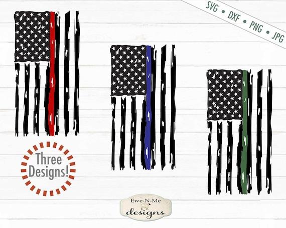 Distressed Vertical American Flag - Red Line Flag, Blue Line Flag,  Green Line Flag SVG