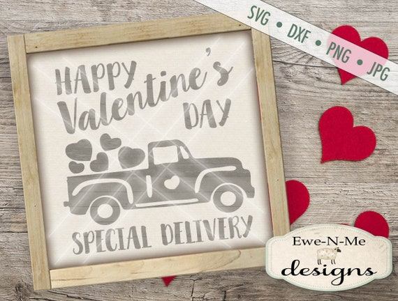 Valentine SVG - Red Truck with Hearts SVG - Special Delivery SVG  - Heart svg - Valentine Truck svg - Commercial Use svg, dxf, png, jpg