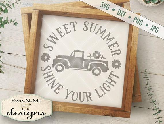 Sweet Summer SVG - sunflower truck SVG - Old Truck SVG - truck with flowers svg - shine light svg - Commercial Use svg, dxf, png, jpg