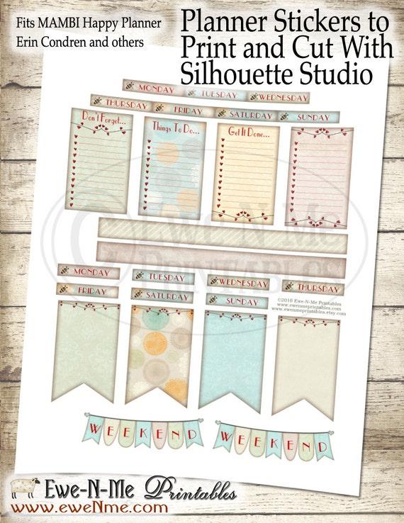 Happy Planner Printable Stickers - Valentine Bears Stickers - Happy Planner Weekly Kit - Printable Planner - Print Cut Silhouette Studio DE