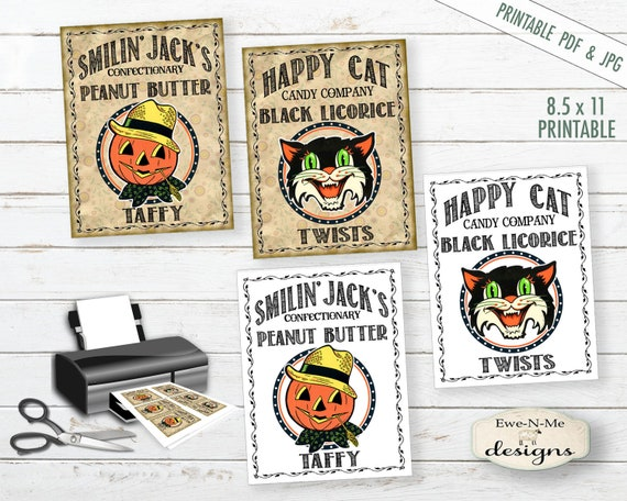 Printable Halloween Tags - Printable Halloween Labels - Halloween tags - Halloween Labels  - PDF or JPG File