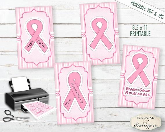 Breast Cancer Tag Printables -  Pink Ribbon Printable Hang Tags - Breast Cancer Tags - Pink Ribbon Tags Digital Print PDF and/or JPG File