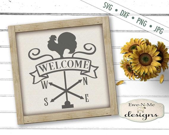 Weathervane SVG - rooster svg - farmhouse svg - Welcome svg  - Farm SVG - farmhouse svg -  Commercial Use svg, dxf, png, jpg