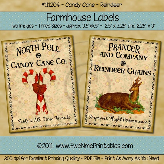 Winter Christmas Primitive Label  - Candy Cane Reindeer Farmhouse Labels - Reindeer Grains Candy Cane Co - Digital PDF or JPG File