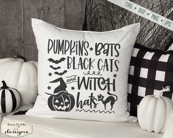 Pumpkins Bats Black Cats and Witch Hats - Halloween SVG