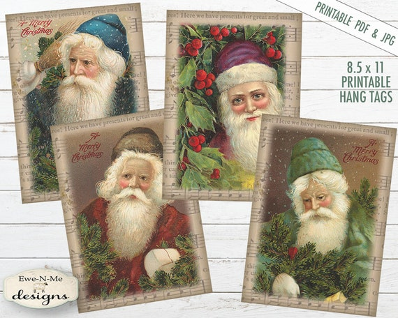 Printable Christmas Tags - Old Santa - Father Christmas - Printable Hang Tags - Sheet Music Santa - Commercial Use PDF and JPG File Included