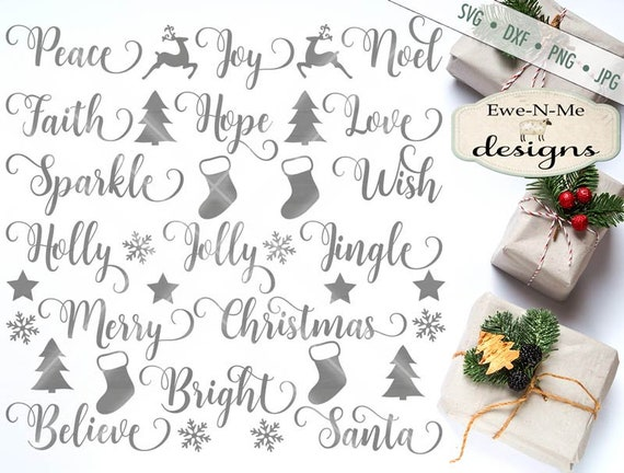 Christmas SVG - Swirly Christmas Words SVG - Christmas Words Bundle - Holiday svg - Ornament SVG Files, Commercial Use - svg, dxf, png, jpg