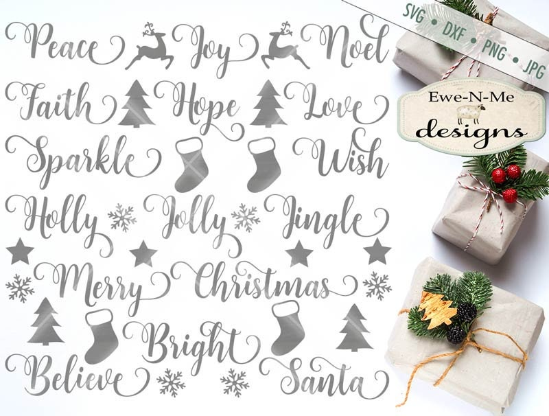 Christmas Svg Swirly Christmas Words Svg Christmas Words Bundle Holiday Svg Ornament Svg Files Commercial Use Svg Dxf Png Jpg