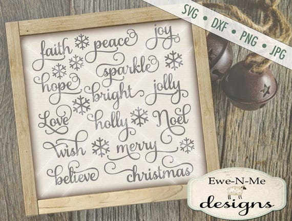 Christmas SVG File - Christmas Words svg Bundle - Holiday Cut files - Ornament SVG Files, Commercial Use - svg, dxf, png, jpg