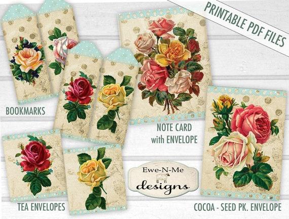 Printable Note Cards - Printable Bookmarks - Printable Tea Bag Envelopes - printable seed packet - printable seed envelope - Digital PDF