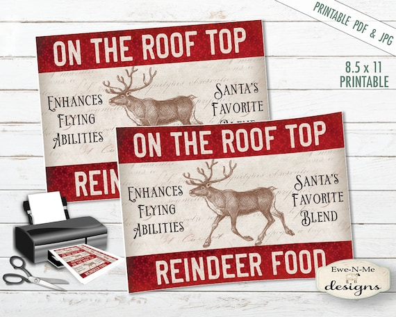 Printable Christmas Tags - Reindeer Tags - Christmas Tags - Printable Hang Tags - Reindeer Food - Commercial Use PDF and JPG File Included